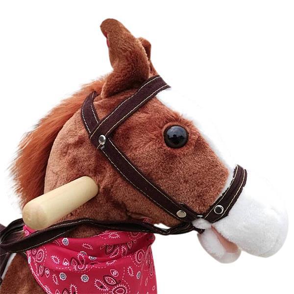 Kids Plush Ride On Pony Rocking Horse Wooden Toy with Neigh Sound Dark Brown