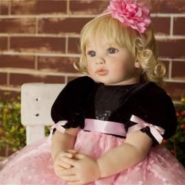 "24"" Beautiful Simulation Baby Golden Curly Girl Wearing Black Powder Skirt Doll"