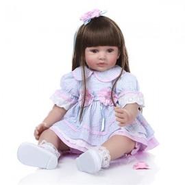 "24"" Beautiful Simulation Baby Long Hair Girl Wearing Blue Purple Plaid Skirt Doll"