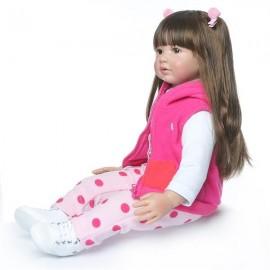 "24"" Beautiful Simulation Baby Long Hair Girl Wearing a Deer Dress Doll"