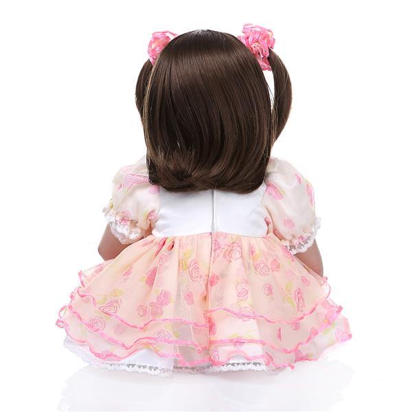 "24"" Beautiful Simulation Baby Short Hair Girl Doll Wearing Pink Print Gauze"